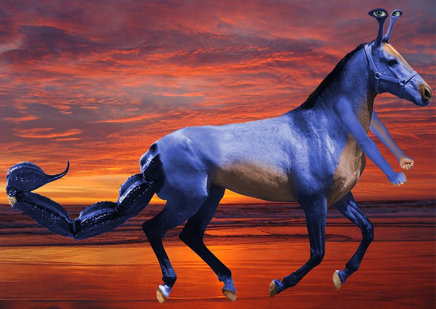 A photoshop of a blue horse with a scorpion tail, two human arms extending from it's neck and eyes on stalks coming out of it's head.